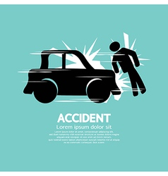 Car Accident Knocked Down A Man vector