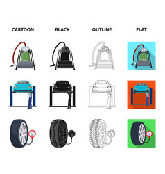 car on lift piston and pump cartoonblackoutline vector image