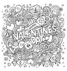 Cartoon hand drawn Doodle Happy Valentines vector