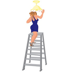 Cartoon woman in blue dress on the ladder fixing vector