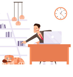 cat interfere remote worker owner scold pet vector image