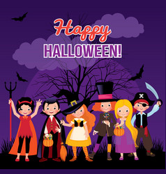 children in costume monsters of halloween vector image