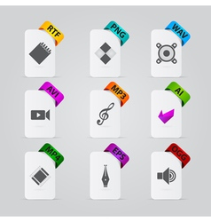 Collection of file extension detailed icons vector