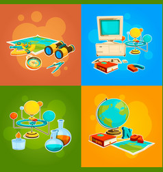 Collection of geography and science tools vector