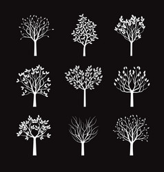 Collection of white trees vector
