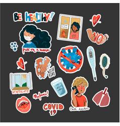 coronavirus prevention reminder stickers vector image