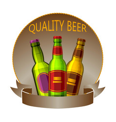 craft beer bottles drink logo sign or badge vector image