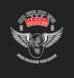 custom motorcycles poster template with winged vector image