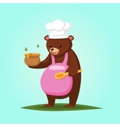 Cute cartoon bear with honey vector