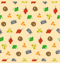 cute kids pattern with geometric animals stickers vector image