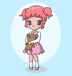 Cute little girl holding teddy bear vector