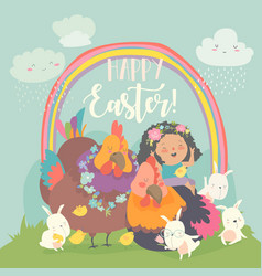 cute little girl with funny chickens and rabbits vector image