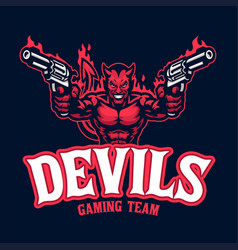 Devil mascot character logo with pair pistols vector