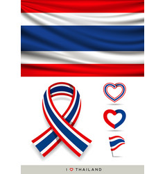 flag thailand and ribbon flag vector image