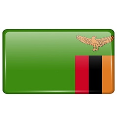 Flags Zambia in the form of a magnet on vector