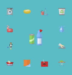 flat icons sponge mopping carpet vacuuming and vector image