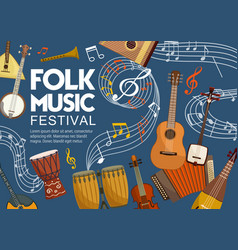 Folk music festival musical notes and instruments vector