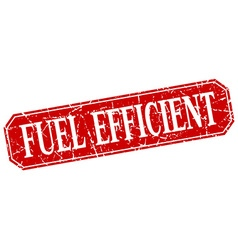 Fuel efficient red square vintage grunge isolated vector