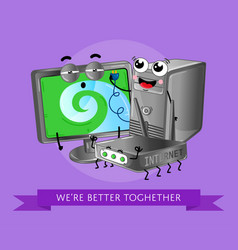 funny computer gadgets banner in cartoon style vector image
