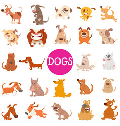 funny dog cartoon characters large set vector image