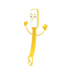funny toothbrush character smiling and dancing vector image