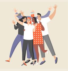 girl makes a group selfie with happy friends vector image