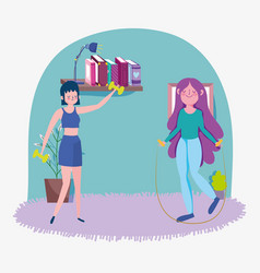 girls with jump rope and gym weights in room vector image
