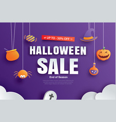 halloween sale promotion template with paper art vector image