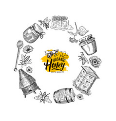 Hand drawn honey elements in circle form vector