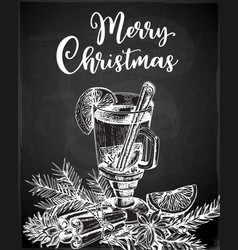 Hand drawn mulled wine and spices on a black vector