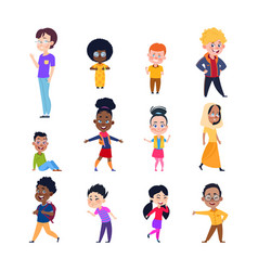 happy kids cartoon european asian and african vector image