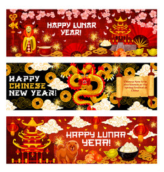 Happy lunar year or chinese spring festival banner vector