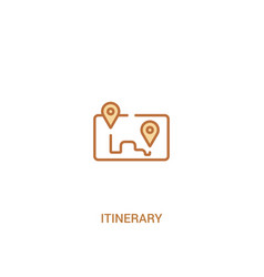 Itinerary concept 2 colored icon simple line vector