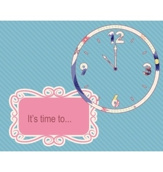 Its time to vintage background with clocks vector