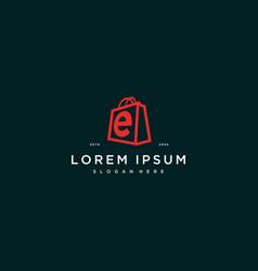 Letter e shopping bag logo design concept vector