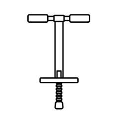 Line pogo stick icon over white background vector