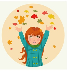 little girl throws up autumn leaves vector image