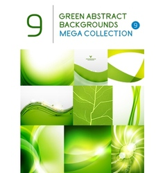 Mega set of green abstract backgrounds vector