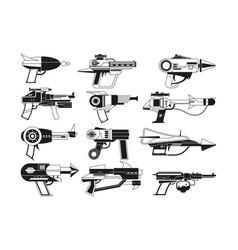 Monochrome futuristic weapons vector