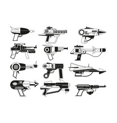 Monochrome of futuristic weapons for vector