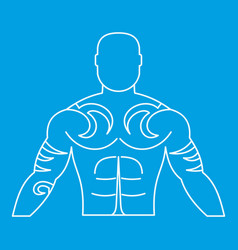 Muscular man with tattoo icon outline vector