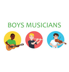 musicians boys of different nations is inspired to vector image