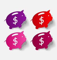 Paper clipped sticker piggy bank vector