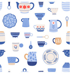 Pottery hand painted crockery seamless vector