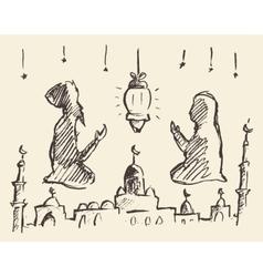 Praying man woman ramadan draw vector