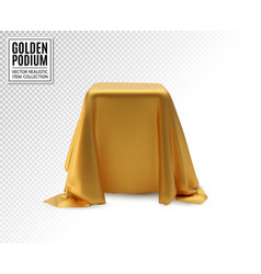 Realistic box covered with golden silk vector