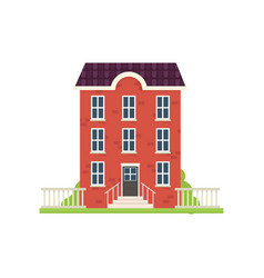 red brick city house with green grass stairs vector image