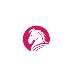 red horse circle logo vector image
