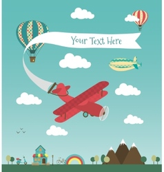 Retro Air Plane Banner Design vector image