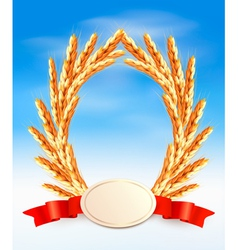 Ripe yellow wheat ears with red ribbons vector image